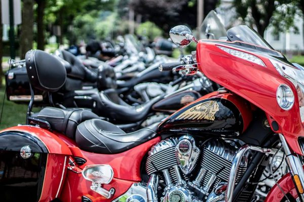 A line of classic motorcycles.