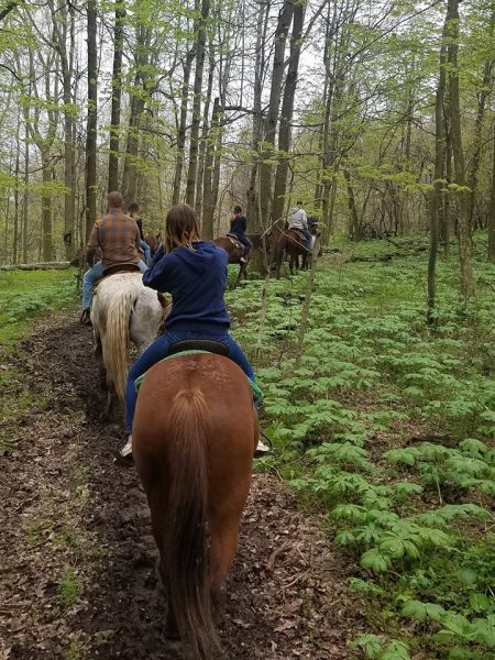 Group of friends trail riding at Equestrian Valley Farm