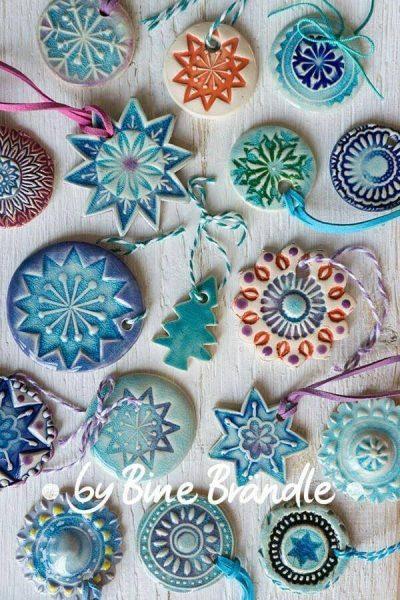 Glazed ceramic Christmas ornaments.