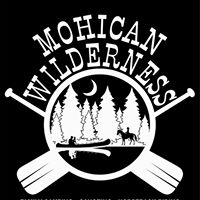 Logo for Mohican Wilderness. Canoe paddles and river in forest.