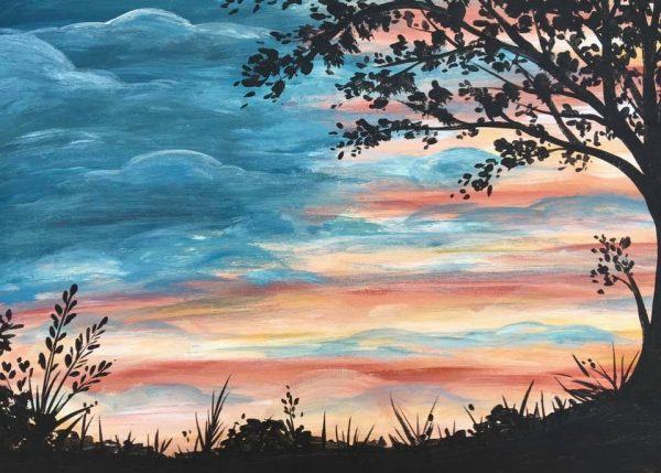 Acrylic painting of clouds over farm field.