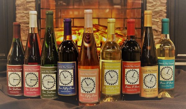 Bottles of wine with Lincoln Way Vineyards labels.