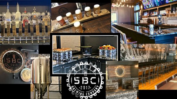 Collage of pictures from Stein Brewing Co. with taps, glasses of beer and walls of taproom.