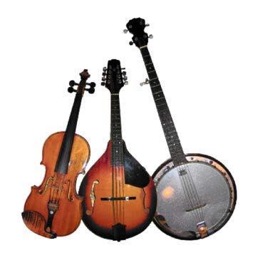 A guitar, banjo and mandolin.