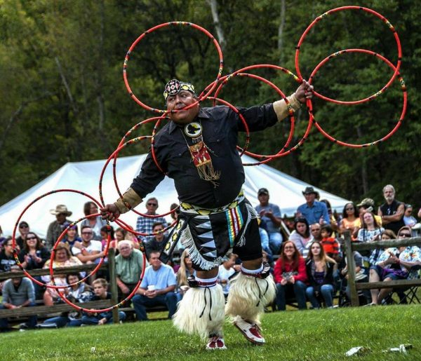 Native American dancing with hoops.