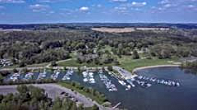 Aerial picture of boats in marina at Pleasant Hill Lake.